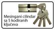 Cilindar sa 5 kodiranih ključeva
