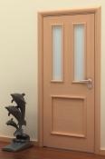 Sobna vrata od furnira bukve sa 1 poljem i 2 otvora za staklo