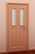 Sobna vrata od furnira bukve i masiva 2 polja i dva otvora za staklo