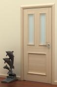 Sobna vrata od furnira jasena sa 1 poljem i 2 otvora za staklo