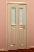 Sobna vrata od furnira jasena i masiva 2 polja i dva otvora za staklo